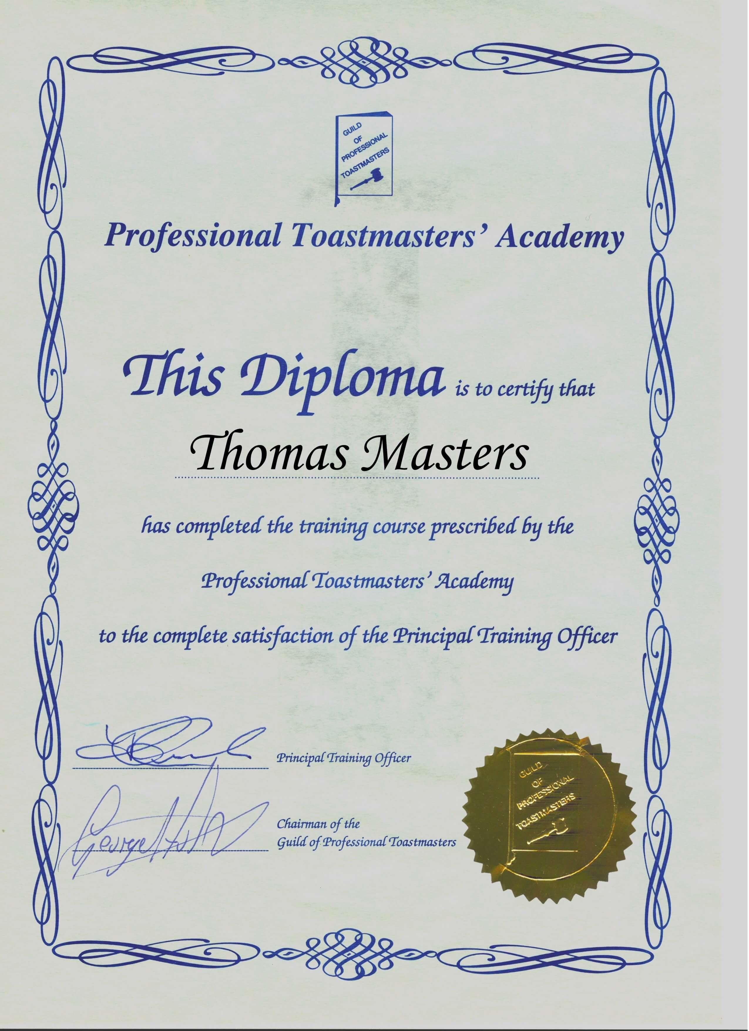 Qualify as a Professional Toastmaster with the Guild of Professional Toastmasters